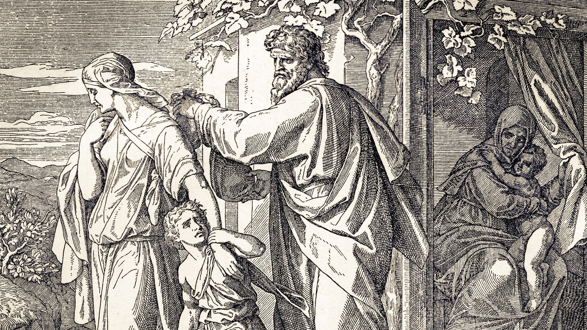 Artists depiction of Hagar and Ishmael being sent away.