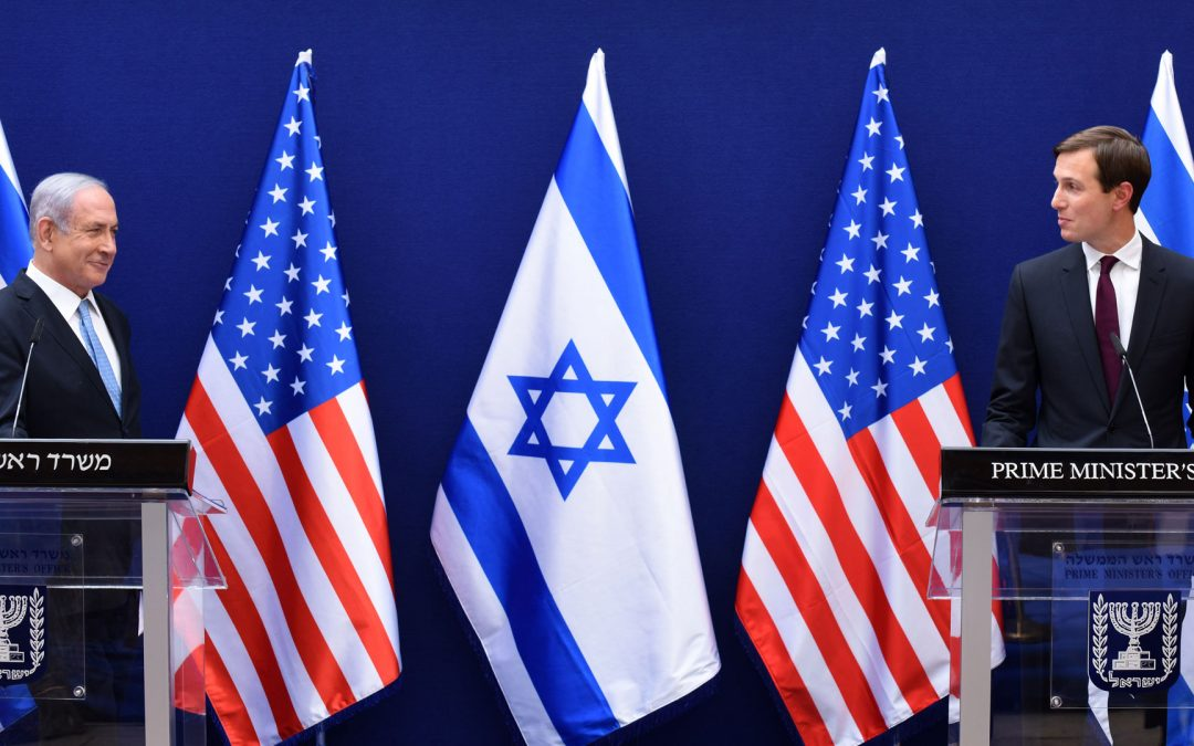 Netanyahu and Kusher at press conference for Abraham Accords